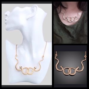 Jewelry - Gold Double Serpent Snake Necklace NEW!
